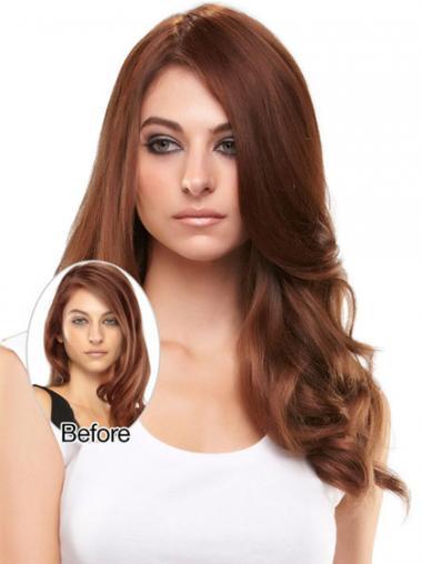 Posticci Clip-in favoloso 100% capelli naturali Castano Dorato Mossa