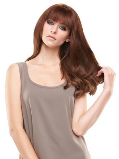 Posticci Clip-in Di tendenza 100% capelli naturali Castano Dorato Liscia