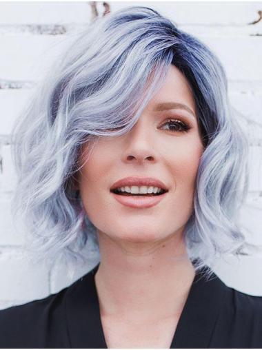 """10"""" Medio Corto Moda Riccia Blu Parrucca Caschetto"""