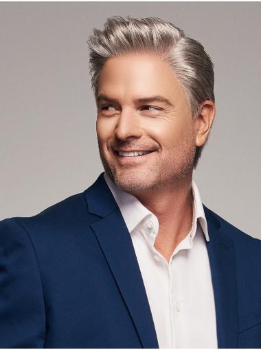 100% capelli naturali Medio Corto Liscia Grigio Alta qualità Parrucche Uomo