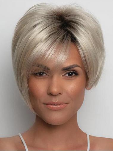 """Parrucche Afroamericano Sintetici Liscia 6"""" Medio Corto Biondo"""