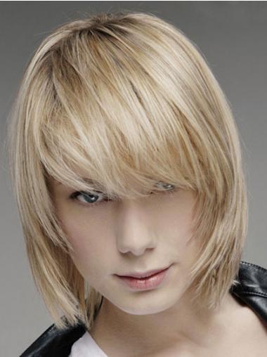 "Parrucche Uomo 100% capelli naturali 10"" Biondo Liscia"
