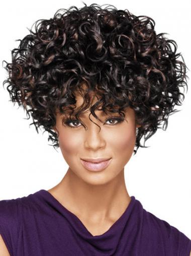 """Parrucche Afroamericano Riccia Macchina 8"""" squisito"""