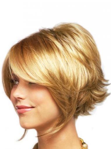 """Parrucche Corte naturale 8"""" Stratificato Biondo"""