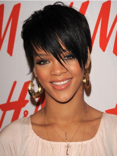 """Parrucche Rihanna 6"""" grande Nero Corto"""