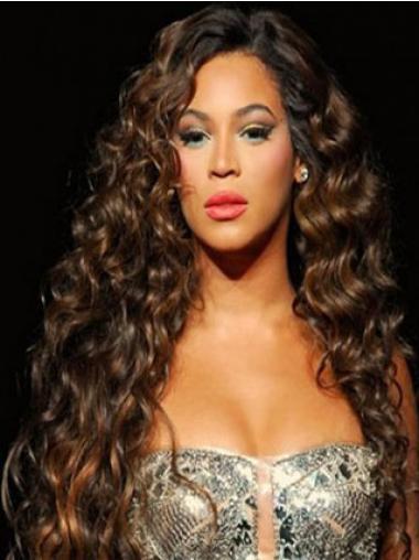 """Parrucche Beyonce Castano Dorato 26"""" incredibile Riccia"""