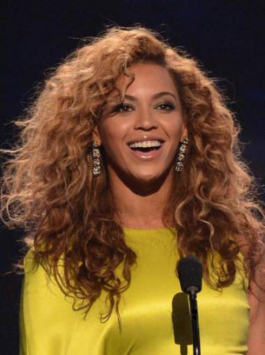 """Parrucche Beyonce Castano Dorato 16"""" sfarzoso Riccia"""