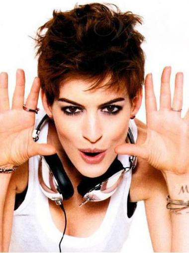"""Parrucche Anne Hathaway Castano 4"""" In linea Mossa"""