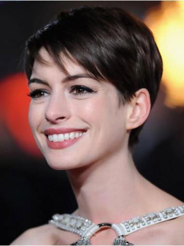"Parrucche Anne Hathaway Castano 4"" Bellissimo Liscia"