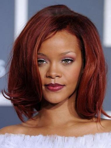 """Parrucche Rihanna 12"""" stupefacente Rosso Medio Corto"""