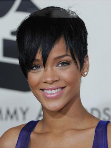"Parrucche Rihanna 5"" incredibile Nero Corto"