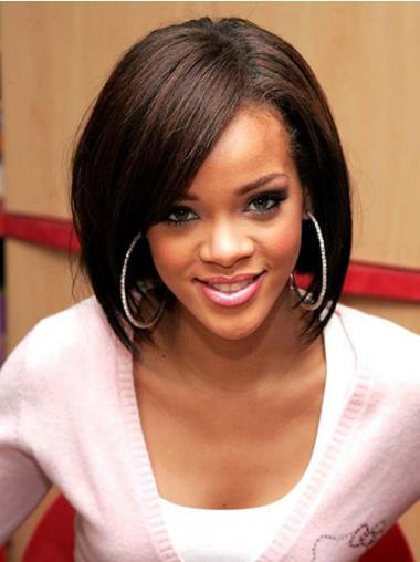"""Parrucche Rihanna 12"""" stile Castano Medio Corto"""
