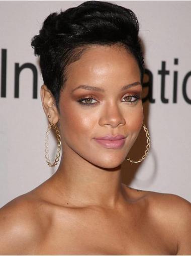 """Parrucche Rihanna 4"""" morbido Nero Corto"""