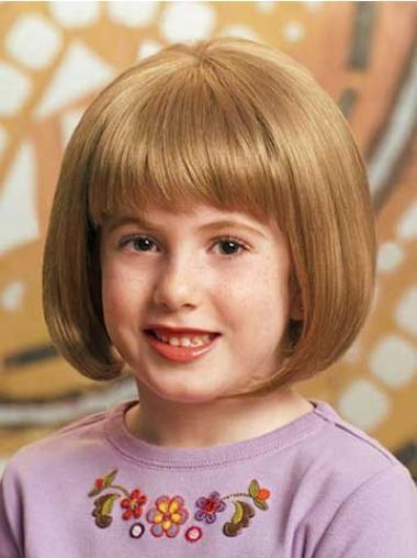 """Parrucche Bambini Biondo 10"""" stile Liscia"""