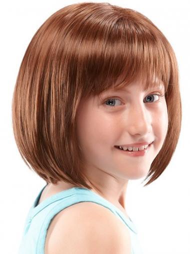 """Parrucche Bambini Castano Dorato 10"""" Affordable Liscia"""