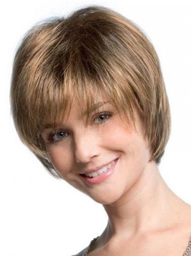 Parrucche Corte Liscia Macchina Biondo confortevole