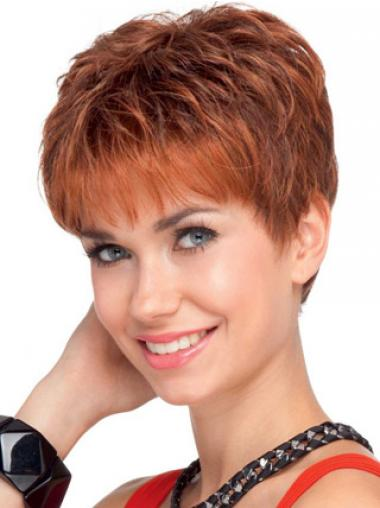 """Parrucche Corte 4"""" Rosso ideale"""