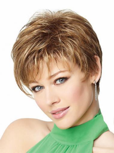 Parrucche Corte Liscia Monofilamento Biondo durevole