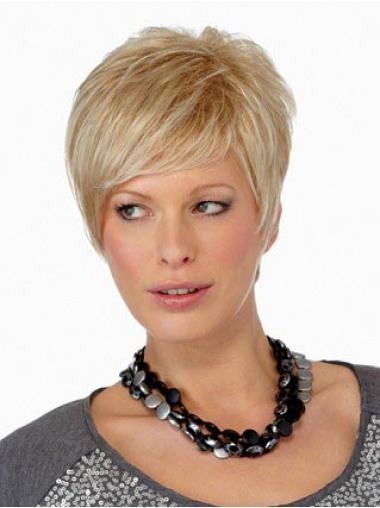 Parrucche Corte Liscia Macchina Biondo ideale