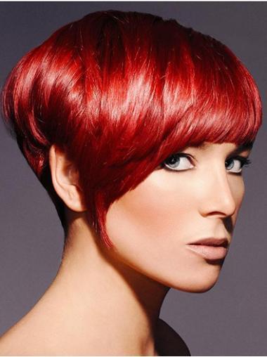 """Parrucche Corte moderno 8"""" Boycuts Rosso"""