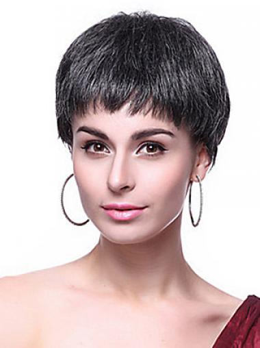 Parrucche Corte Liscia Macchina Nero naturale
