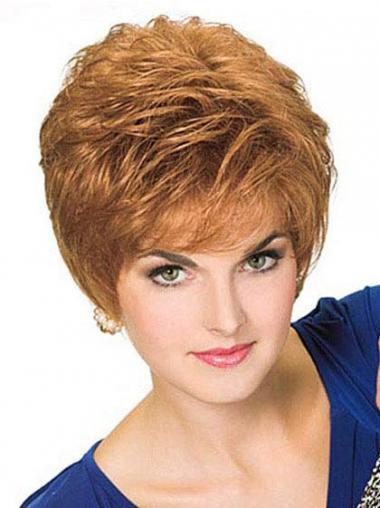 Parrucche Corte Liscia 100% Fatto a Mano Biondo migliore