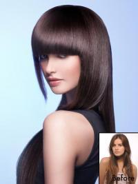 Frangia Clip-in moderno Castano Dorato 100% capelli naturali