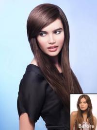 Frangia Clip-in acconciature Castano Dorato 100% capelli naturali