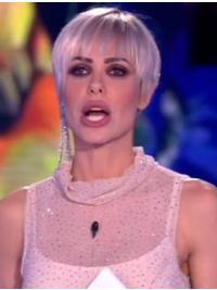 "Parrucca Ilary Blasi Liscia Bianco Sintetic i4"""