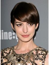 "Parrucche Anne Hathaway Castano 6"" elegante Liscia"