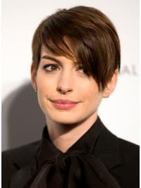 "Parrucche Anne Hathaway Castano 6"" Alta qualità Liscia"