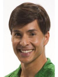 "Parrucche Uomo 100% capelli naturali 4"" Castano Liscia"