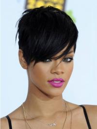 """Parrucche Rihanna 6"""" sconto Nero Corto"""