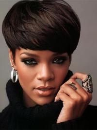 """Parrucche Rihanna 6"""" durevole Nero Corto"""